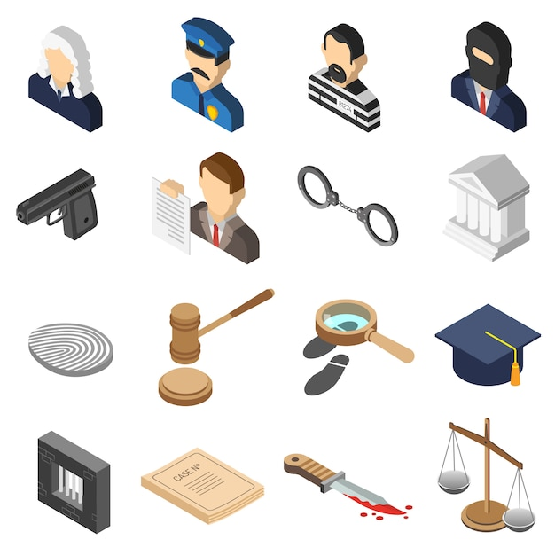 Justice isometric color icon set Free Vector