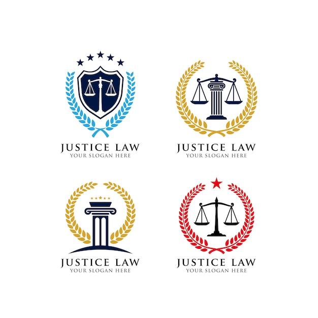 Justice law emblem logo design template Premium Vector