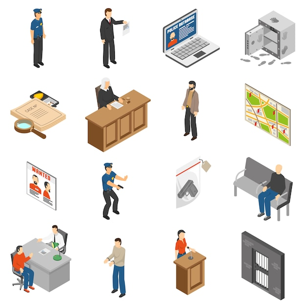 Justice and law isometric icons set Free Vector