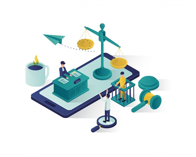 Justice and law isometric illustration , law firm isometric illustration. Premium Vector