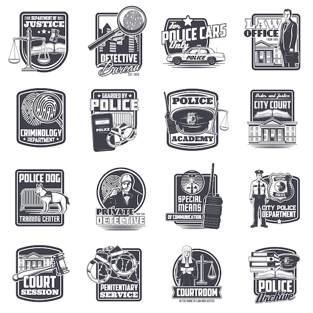 Justice and law, police and private detective icons set. Premium Vector