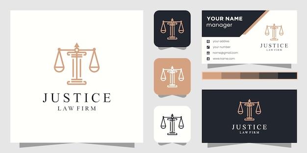 Логотип юриста юстиции и визитная карточка Premium векторы