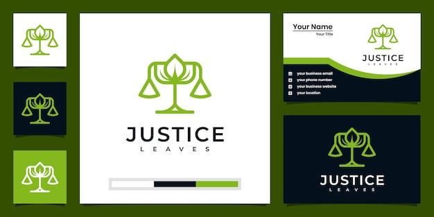 正義はロゴデザインのインスピレーションと名刺デザインを残します Premiumベクター