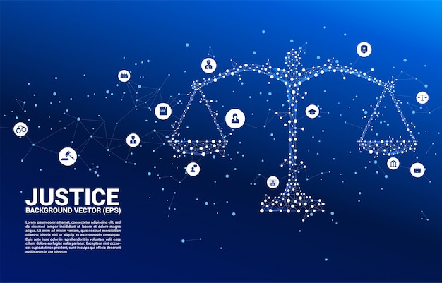 Justice scale from dot and line connection background Premium Vector