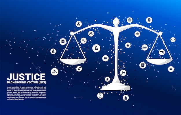 Justice scale with dot and line connection and icon. Premium Vector