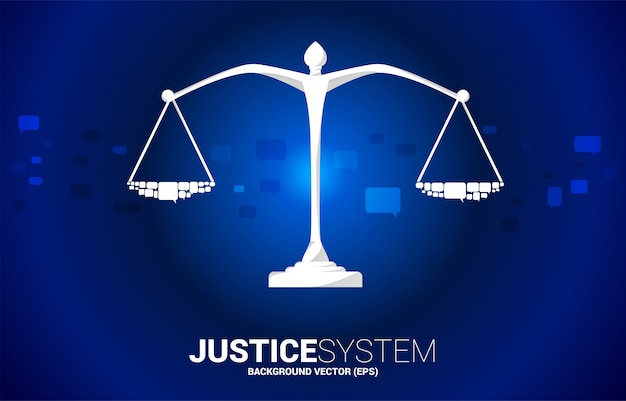 Justice scale with speech bubble. social judgment system.justice scale with group of speech bubble. background concept of social judgment system. Premium Vector