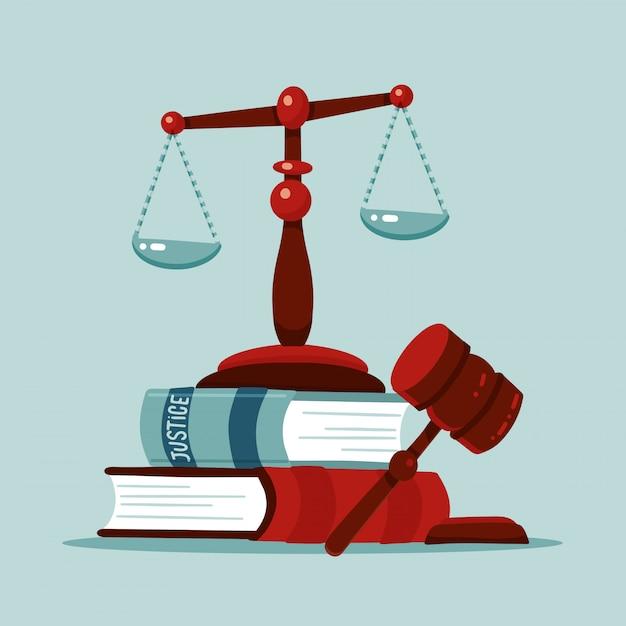 Весы правосудия и деревянная концепция молотка судьи. знак молотка закона с книгами законов. юридический закон и символ аукциона. классические придворные весы. квартира векторная иллюстрация. Premium векторы