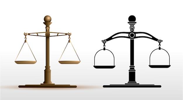 Justice scales set Premium Vector