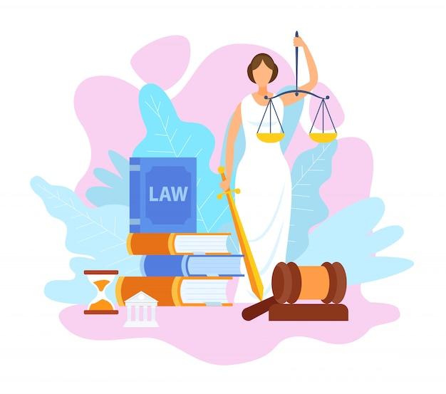 Justice statue holding scales flat illustration Premium Vector
