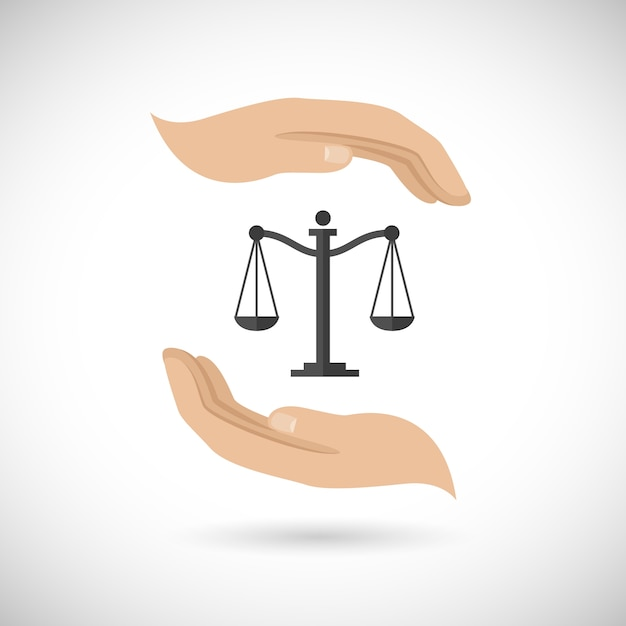 Justice, two hands and a balance Free Vector