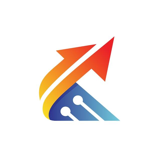 Буква k arrow tech дизайн логотипа Premium векторы