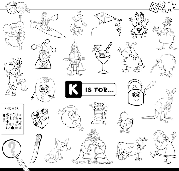 K is for educational game coloring book Premium Vector