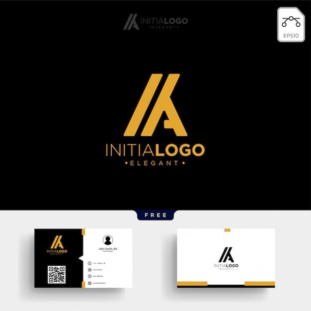Золотая роскошная буквица k, или ka, шаблон логотипа и визитка Premium векторы