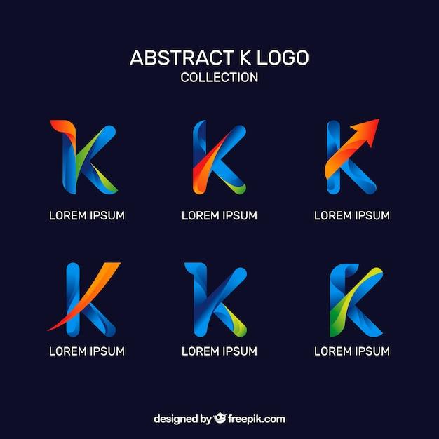 Абстрактные логотипы буквы «k» pack Бесплатные векторы