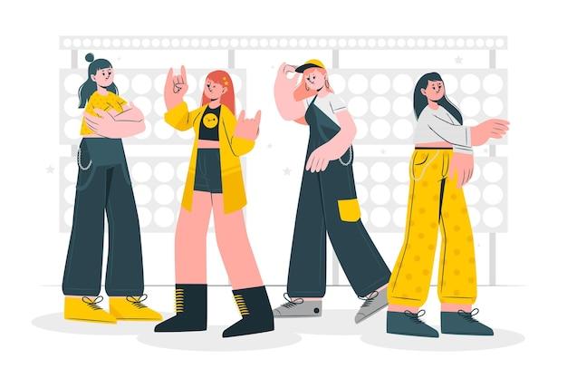 K-pop band concept illustration Free Vector