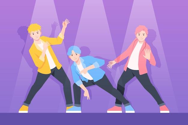 K-popボーイグループコンセプト 無料ベクター