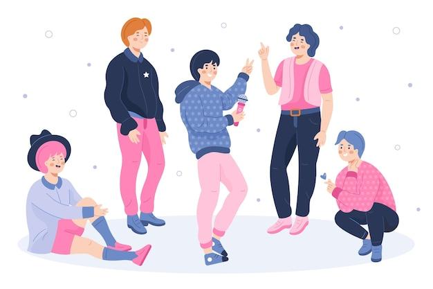 Free Vector K Pop Boy Group Concept