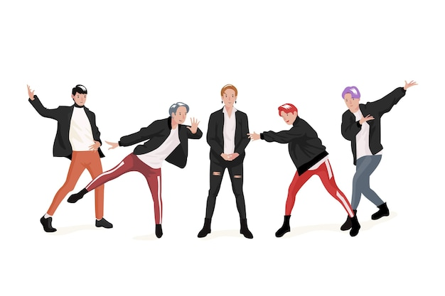 K-pop boyグループテーマ 無料ベクター