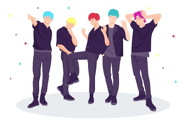 K-поп мальчики стояли вместе Бесплатные векторы