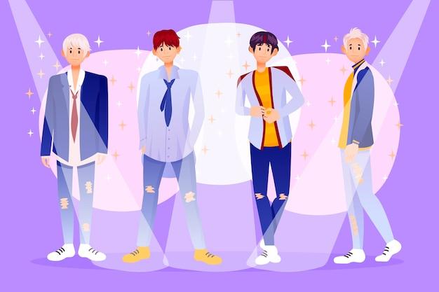 К-поп группа молодых парней с иллюстрацией Бесплатные векторы