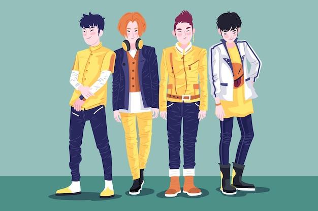 K-pop группа молодых парней Бесплатные векторы