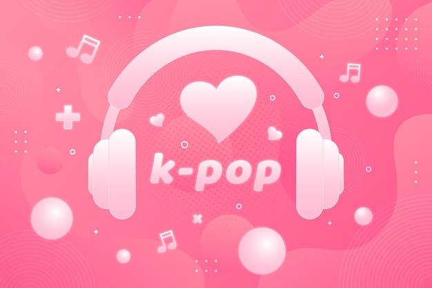 K-pop music concept with headphones