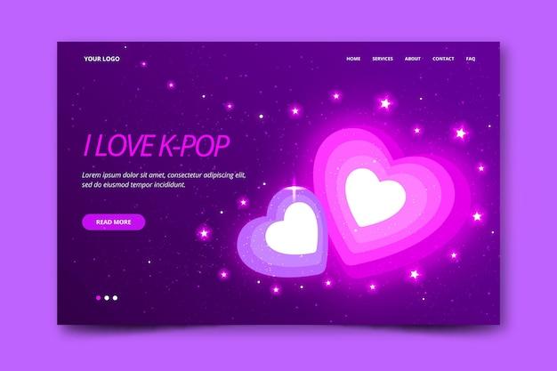 Дизайн целевой страницы к-поп музыки Бесплатные векторы