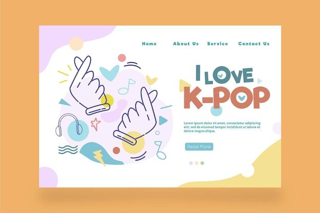 Modello di pagina di destinazione della musica k-pop con illustrazioni Vettore gratuito