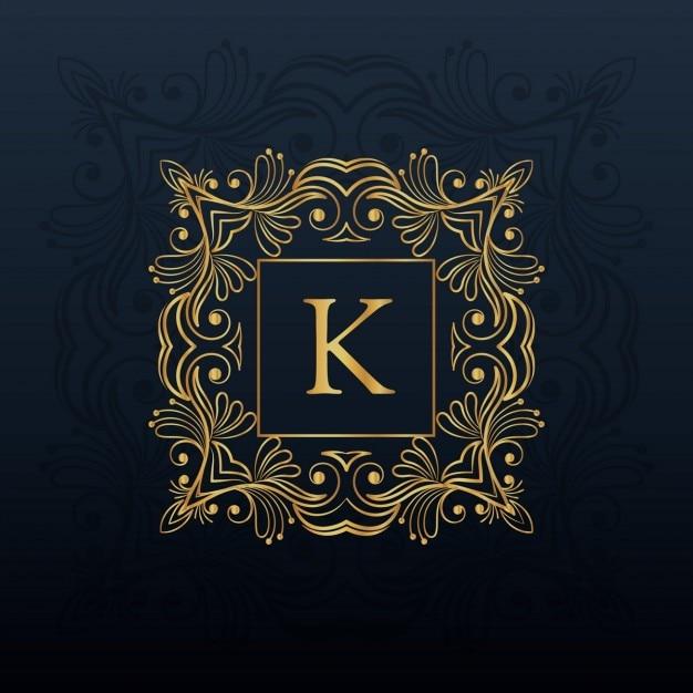 手紙kのロゴのための古典的な花柄のモノグラムデザイン 無料ベクター
