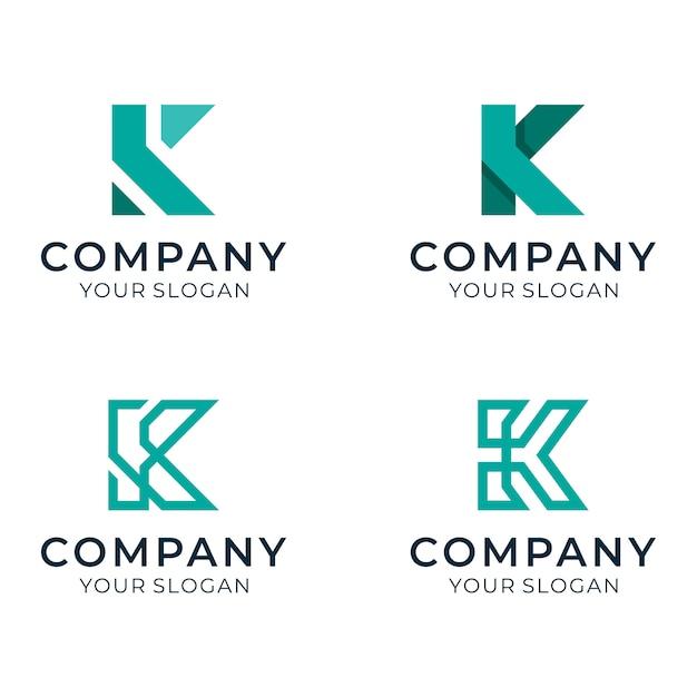 会社用の初期kロゴセット Premiumベクター