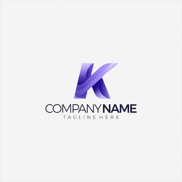 Современный логотип буква k начальный градиент многоцветный дизайн шаблона Premium векторы