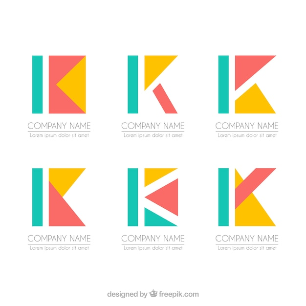 Коллекция шаблонов геометрических букв k Бесплатные векторы