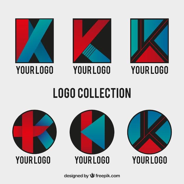 Набор абстрактных букв k логотипов Бесплатные векторы