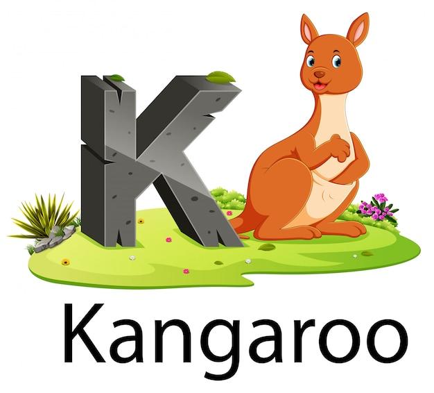 かわいい動物とカンガルーの動物園動物アルファベットk Premiumベクター