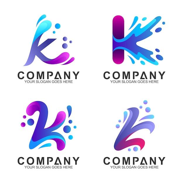 Набор начальной буквы k дизайн логотипа с формой брызг воды Premium векторы