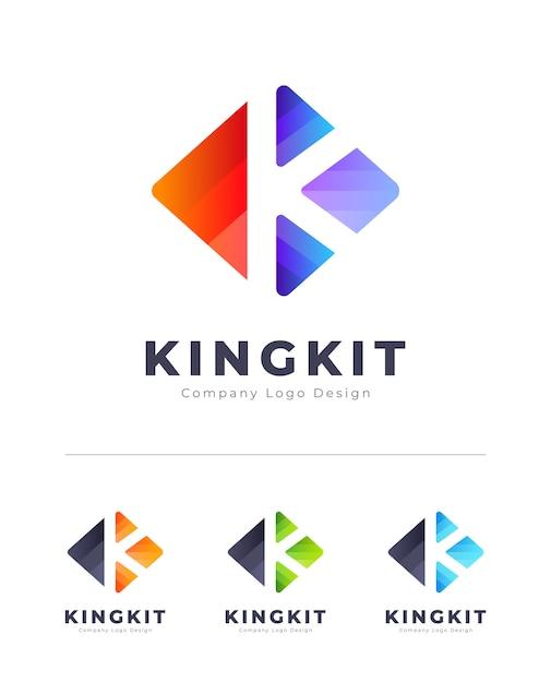 Красочный логотип k письмо Premium векторы