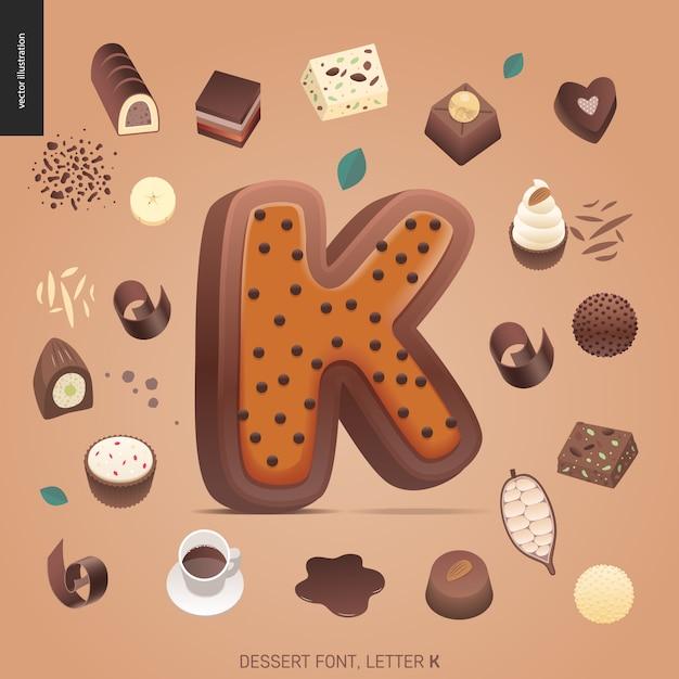 デザートフォント - 文字k  - モダンなフラットベクトル概念デジタルイラスト誘惑フォント、甘いレタリング。キャラメル、タフィー、ビスケット、ワッフル、クッキー、クリーム、チョコレートの手紙 Premiumベクター