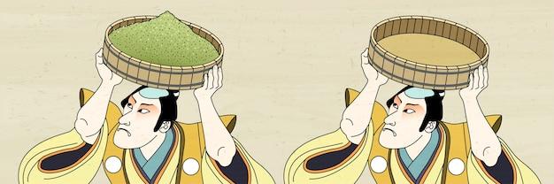 浮世絵風に抹茶を運ぶ歌舞伎男 Premiumベクター