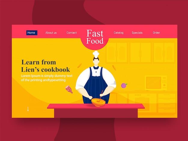 Персонаж шеф-повара держит кухонную посуду (kadai) с ковшом на кухонном столе для learn с целевой страницы поваренной книги. Premium векторы