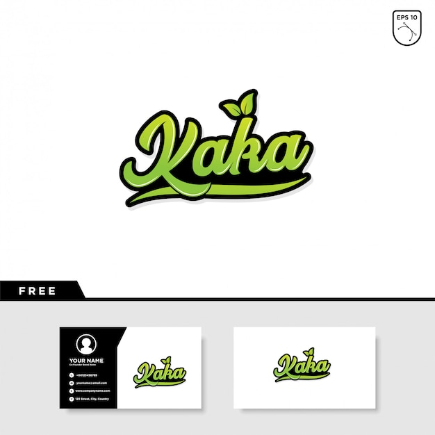Kaka lettering text effect and business card Premium Vector