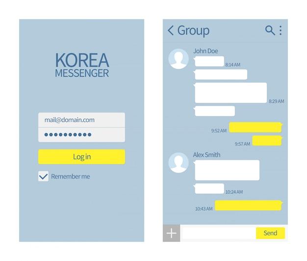 Корейский мессенджер интерфейс kakao talk с чатами и значками Premium векторы