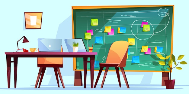 Kanban board at workplace illustration for agile scrum management and teamwork business Free Vector