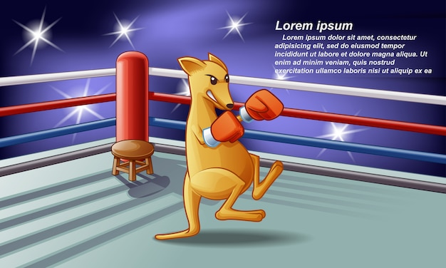 Kangaroo boxer on the stage with spotlight background. Premium Vector