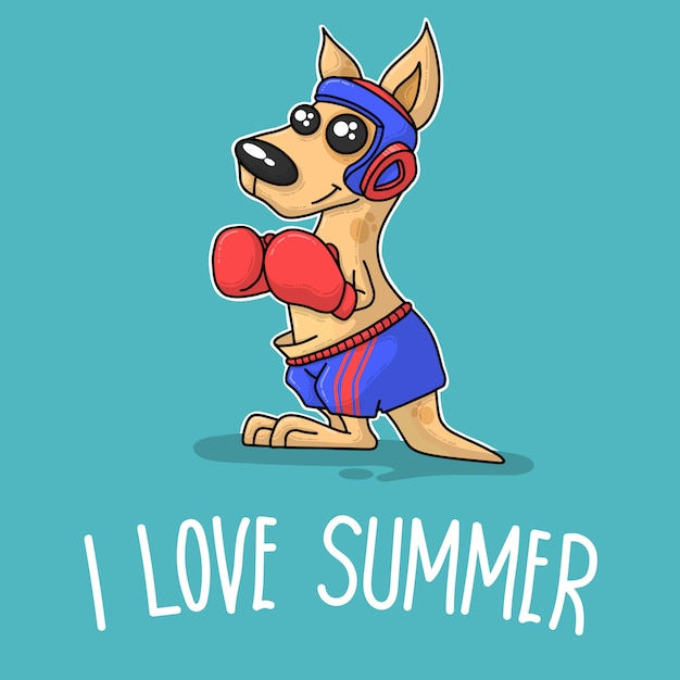 Kangaroo boxing and saying i love summer Premium Vector