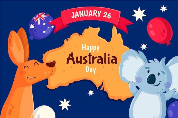 Kangaroo and koala bear celebrating event Free Vector