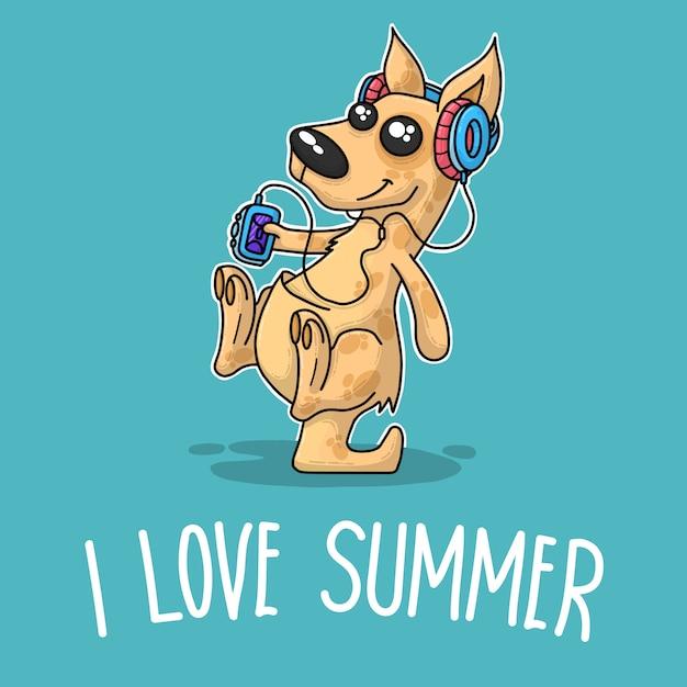 Kangaroo listening music and saying i love summer Premium Vector