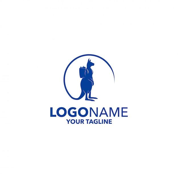 Kangaroo logo Premium Vector