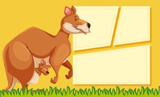 Kangaroo on note background Free Vector