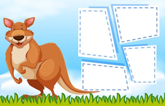 Kangaroo on note template Free Vector