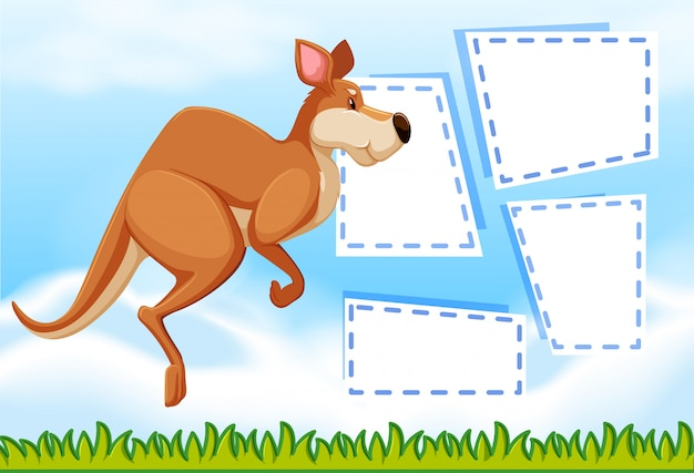 Kangaroo on note template Free Vector